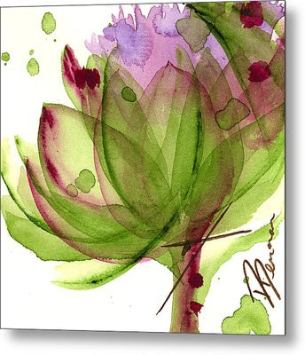 Artichoke Flower Metal Print by Dawn Derman