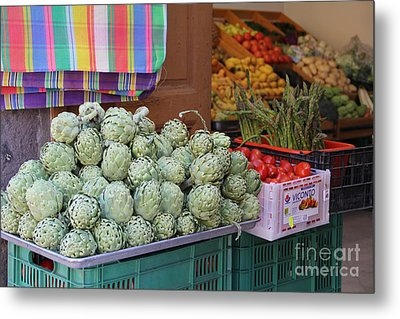 Artichokes And Asparagus Guanajuato Metal Print by Linda Queally