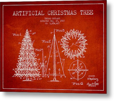 Artifical Christmas Tree Patent From 1927 - Red Metal Print by Aged Pixel