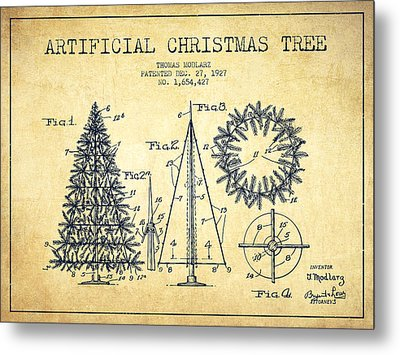 Artifical Christmas Tree Patent From 1927 - Vintage Metal Print by Aged Pixel