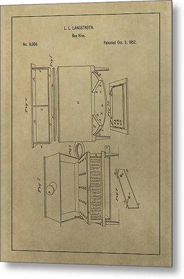 Artificial Bee Hive Patent Metal Print by Dan Sproul