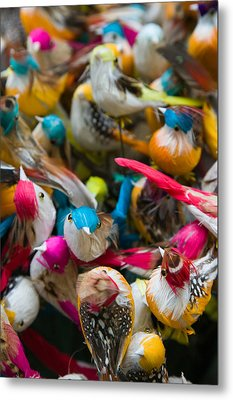 Artificial Birds For Sale At A Market Metal Print