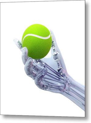 Artificial Hand Holding A Tennis Ball Metal Print