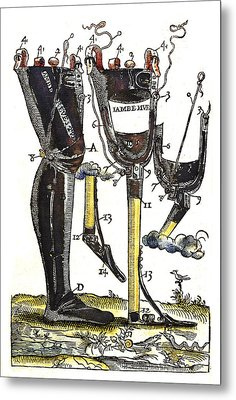 Artificial Legs Designed By Ambroise Metal Print by Wellcome Images