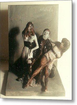 Artist 2 Models In Black Lingerie Metal Print by Harry WEISBURD