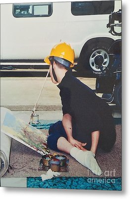 Metal Print featuring the painting Artist At 16 Yrs Old by Donald J Ryker III