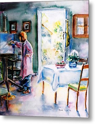Artist At Work In Summer  Metal Print by Trudi Doyle