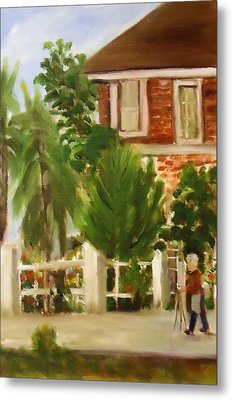 Artist In Galveston Metal Print by Betty Pimm