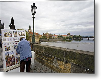 Artist On The Charles Bridge - Prague Metal Print