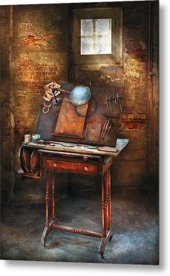 Artist - The Etching Table Metal Print by Mike Savad