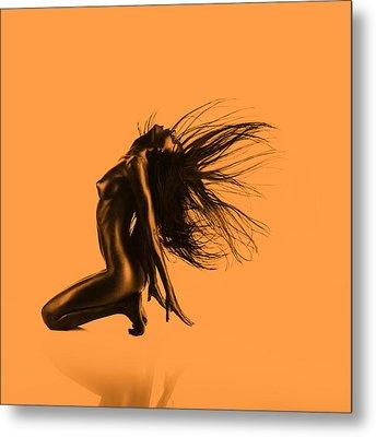 Artistic Nude Orange Metal Print by Dan Comaniciu