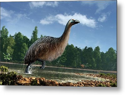 Artwork Of Giant Moa In New Zealand Metal Print