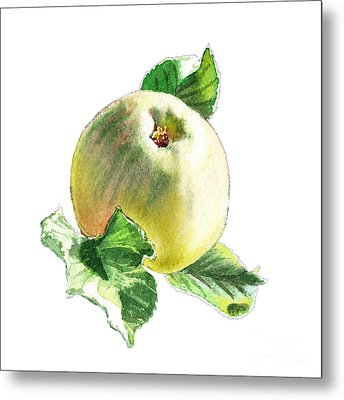Metal Print featuring the painting Artz Vitamins Series A Happy Green Apple by Irina Sztukowski