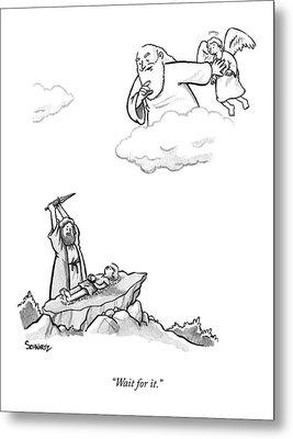 As Abraham Raises The Dagger Over His Son Metal Print