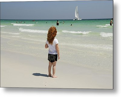 As The Sail Boat Rolls By Metal Print