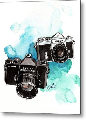 Asahi Pentax Sp And Nikon F Metal Print by Yoshiharu Miyakawa