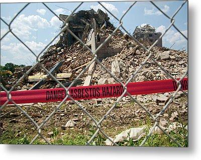 Asbestos Demolition Hazard Warning Metal Print by Jim West