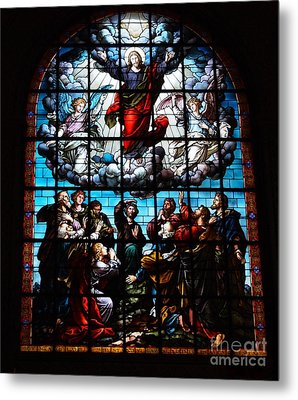Ascension Of Christ Stained Glass Metal Print by Deborah Fay