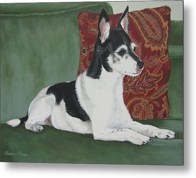 Ashley On Her Sofa Metal Print