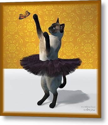 Asian Design Blue Siamese Ballet Cat On Paw-te  Metal Print by Andre Price