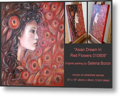Metal Print featuring the painting Asian Dream In Red Flowers 010809 Comp by Selena Boron