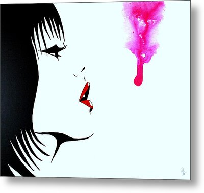 Asian Female Drip Art Metal Print by Bob Baker