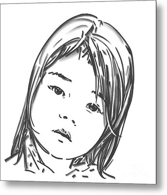 Metal Print featuring the drawing Asian Girl by Olimpia - Hinamatsuri Barbu