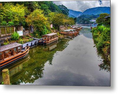 Asian Pleasure Boats Wait On The River Hozu In Japan Metal Print by Laura Palmer