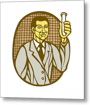 Asian Scientist Test Tube Woodcut Linocut Metal Print by Aloysius Patrimonio