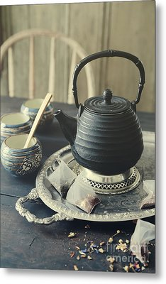 Metal Print featuring the photograph Asian Teapot With Cups And Herbal Bags Of Tea by Sandra Cunningham