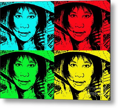 Asian Woman Wearing A Conical Hat Altered Metal Print by Jim Fitzpatrick