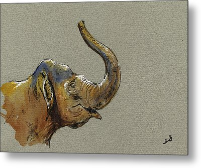 Asiatic Elephant Head Metal Print by Juan  Bosco