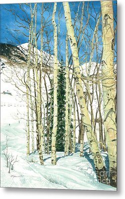 Aspen Shelter Metal Print by Barbara Jewell