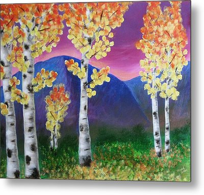 Aspens And Mountains IIi Metal Print by Elizabeth Golden