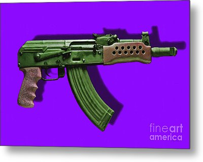 Assault Rifle Pop Art - 20130120 - V4 Metal Print by Wingsdomain Art and Photography
