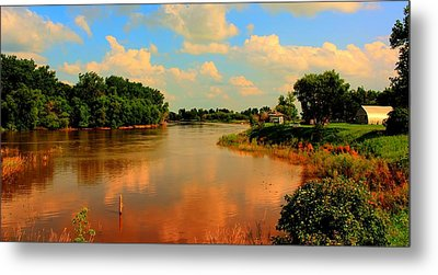 Assiniboine River Hdr Metal Print by Larry Trupp
