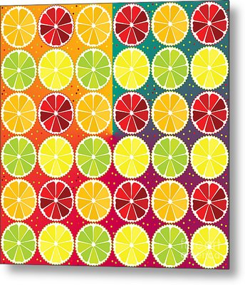Assorted Citrus Pattern Metal Print by Gaspar Avila