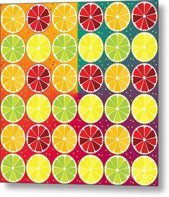 Assorted Citrus Pattern Metal Print by Gaspar Avila