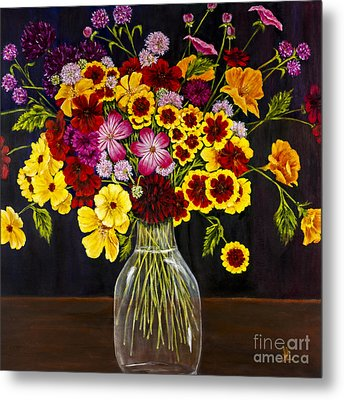 Assorted Flowers In A Glass Vase By Alison Tave Metal Print by Sheldon Kralstein
