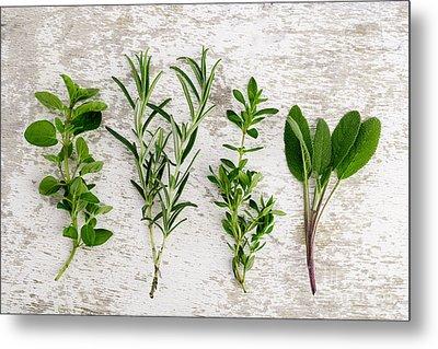 Assorted Fresh Herbs Metal Print by Nailia Schwarz