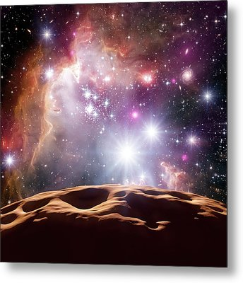 Asteroid And Star Cluster Metal Print by Detlev Van Ravenswaay