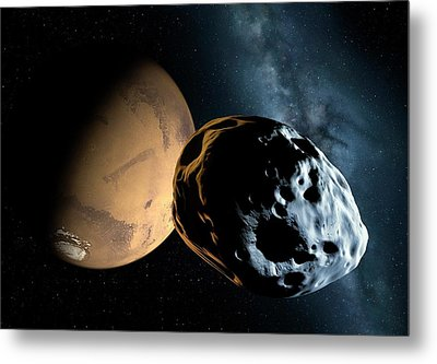 Asteroid Approaching Mars Metal Print