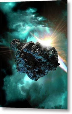 Asteroid In Outer Space Metal Print by Victor Habbick Visions