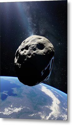 Asteroid Passing Earth Metal Print