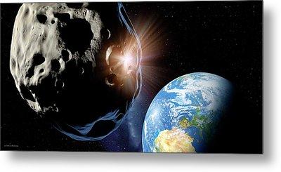 Asteroids Colliding Near Earth Metal Print by Detlev Van Ravenswaay