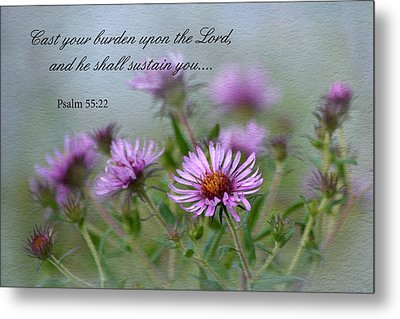 Asters With Scripture Metal Print