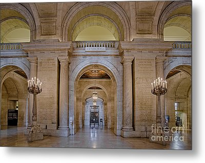 Astor Hall At The New York Public Library Metal Print by Susan Candelario