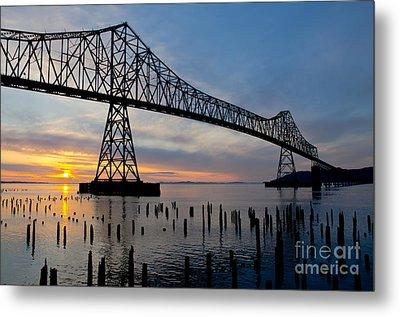 Astoria Bridge Sunset Metal Print