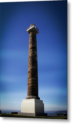 Blue Metal Print featuring the photograph Astoria Column 1926 by Aaron Berg