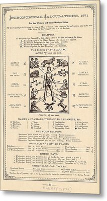 Astrology And The Human Body Metal Print by Mid-manhattan Picture Collection/new York Public Library